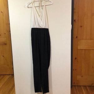 Black and white halter jumpsuit